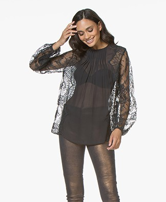 Magali Pascal Lou Sheer Blouse with Lace - Midnight