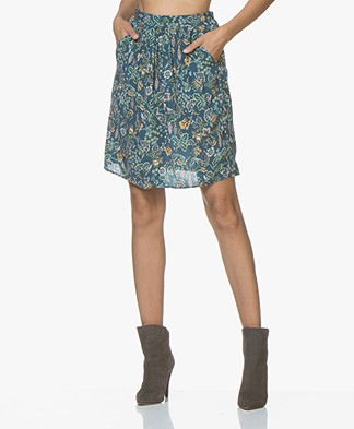 MKT Studio Journi Viscose Print Skirt - Petrol
