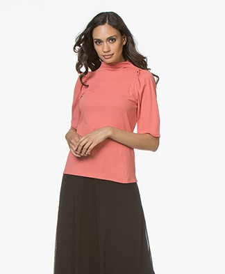 Filippa K Cotton Crêpe Pleat T-Shirt - Melba