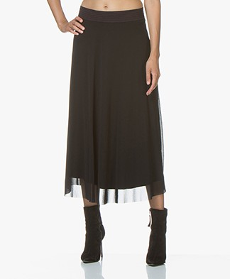 no man's land Mesh Midi Skirt - Black