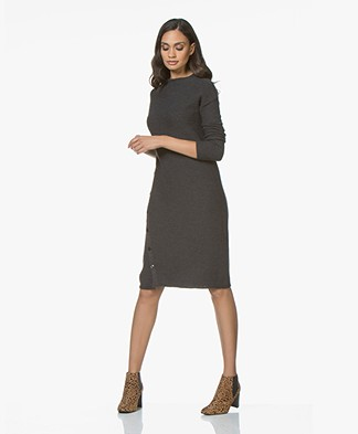 Pomandère Knitted Dress in Virgin Wool and Linen - Dark Grey