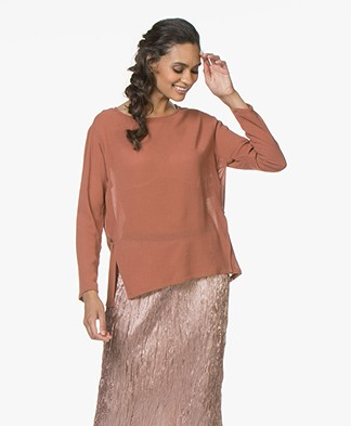 Pomandère Loose-fit Blouse in Wool Blend - Rusty Pink