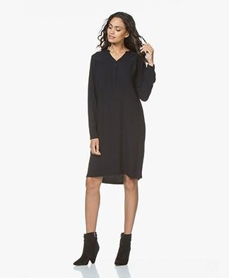 BY-BAR Story Viscose Slit Neck Dress - Dark Navy