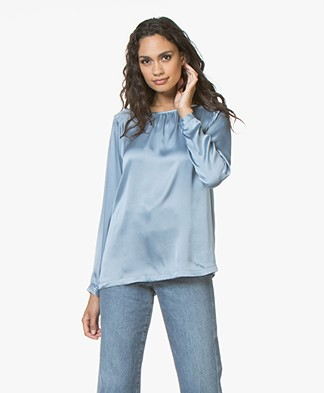 no man's land Zijden Blouse met Ronde Hals - Porcelain Blue