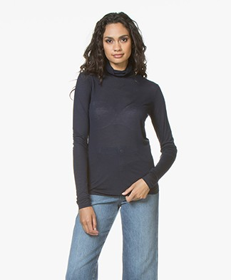 Closed Viscose Blend Turtleneck with Cashmere - Dark Night