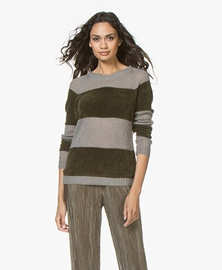 indi & cold Jersey Knitted Color-block Pullover - Khaki