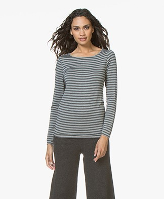 Majestic Filatures Striped Round Neck Long Sleeve - Grey/Flanelle