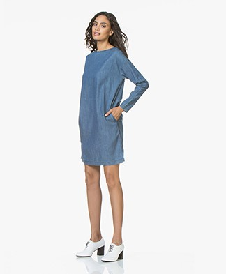 BY-BAR Bobbi Denim Chambray Jurk - Blauw