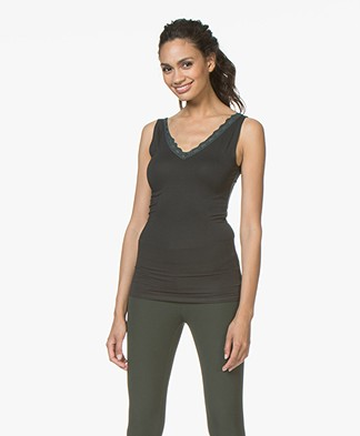 BY-BAR Double V-neck Top with Lace - Vintage Green
