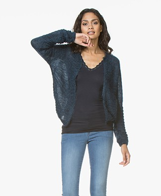 BY-BAR Gwen Mohairmix Kort Open Vest - Blauw
