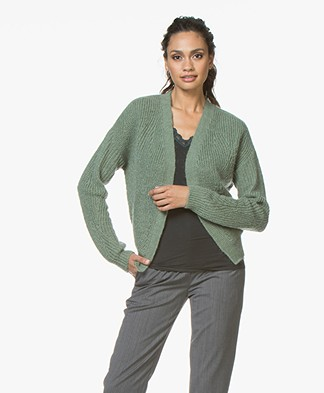 BY-BAR Wietze Mohair Blend Short Open Cardigan - Dark Sage