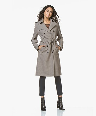 Closed Clubmoss Pied-de-poule Trench Coat - Beige/Rose Orange