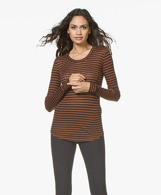 Closed Striped Long Sleeve with Cashmere - Pecan