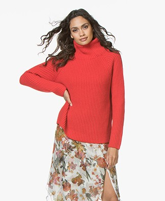 Drykorn Arwen Rib Knit Turtleneck Sweater - Red