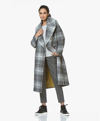 Drykorn Cluny Long Checkered Coat - Light Grey