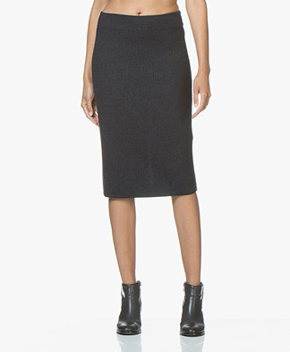 Drykorn Kama Pure Wool Knit Skirt - Dark Blue