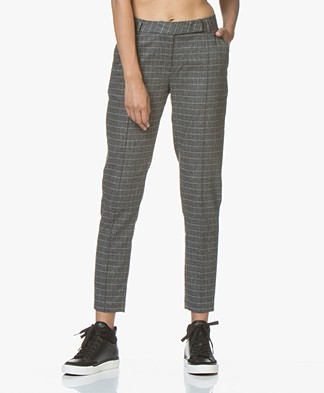 indi & cold Checkered Tapered Pants - Grey