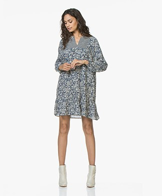 indi & cold Two-tone Floral Print Dress - Indigo