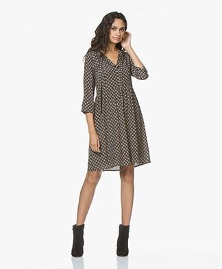 indi & cold Print Dress with Self-tie Closure - Black