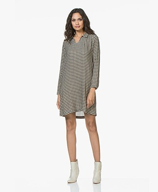 indi & cold Checked Dress in Wool Blend - Black