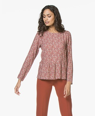 indi & cold Print Blouse with Peplum Hem - Peonia