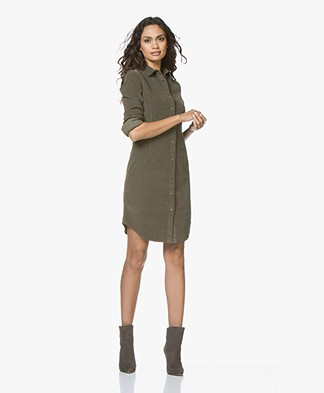 no man's land Corduroy Cotton Shirt Dress - Armour