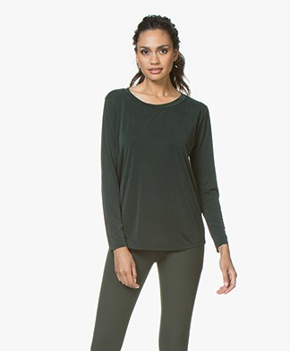 no man's land Cupro Long Sleeve - Dark Emerald
