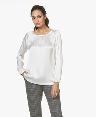 no man's land Silk Round Neck Blouse - Marble