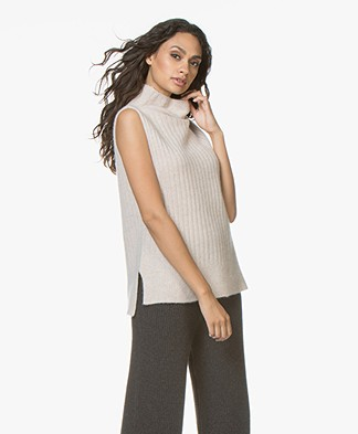 Repeat Cashmere Sleeveless Rib Pullover - Beige