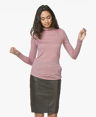 Closed Viscose Blend Turtleneck with Cashmere - Rose