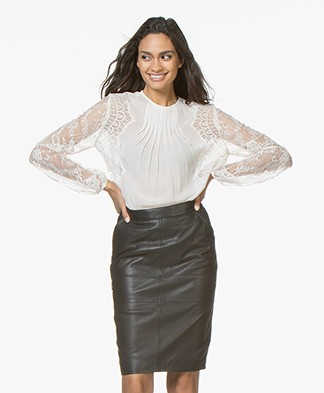 Magali Pascal Lou Transparante Blouse met Kant - Dusty White