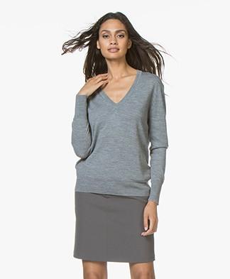 Filippa K Merino  V-neck Sweater - Mid Grey Melange