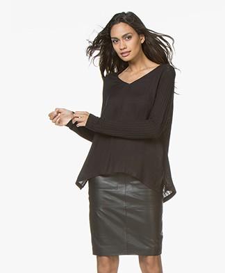 indi & cold Camiseta Linen Blend Long Sleeve - Black