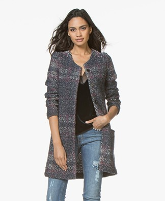 Belluna Blues Wool Blend Boucle Cardigan Coat - Navy/Red
