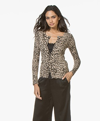Belluna Player Short Leopard Cardigan - Sand/Anthracite