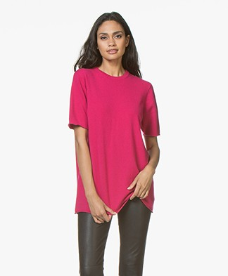 extreme cashmere N°64 Lang Gebreid Cashmere T-shirt - Kiss