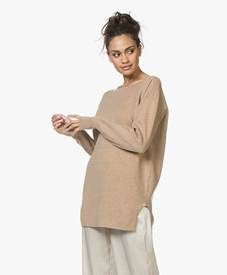 Filippa K Soft Sport 2-tone Split Sweater - Camel Mêlee