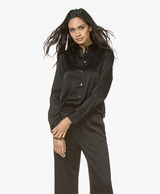 Filippa K Shiny Satin Blouse - Zwart