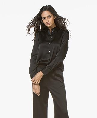 Filippa K Shiny Satin Shirt - Black