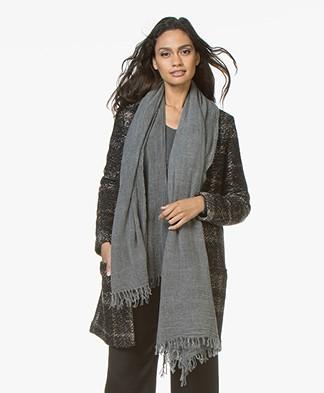 Filippa K Wool Cashmere Scarf - Dark Grey Melange