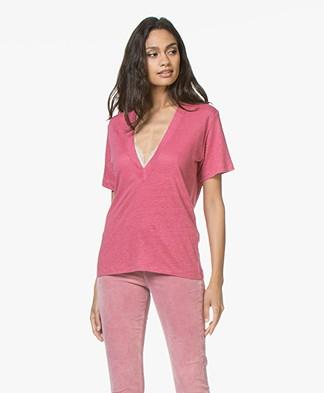 IRO Jahal Linen Deep V-neck T-shirt - Pink