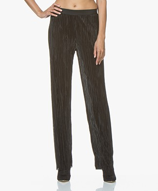 LaSalle Wide Pleated Pants - Black