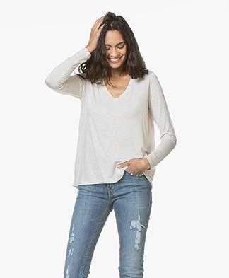 Majestic Loose-fit Jersey Long Sleeve T-shirt - Ecru Melange