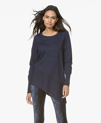 Repeat Merino Sweater with Asymmetric Hem - Ink