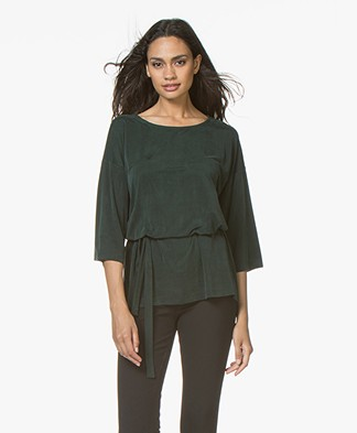 no man's land Cupro Cropped Sleeve T-shirt - Dark Emerald