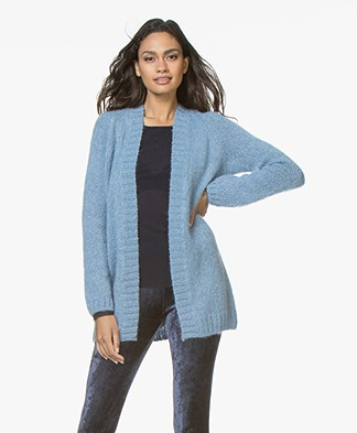 no man's land Mohair Half Long Open Cardigan - Porcelain Blue