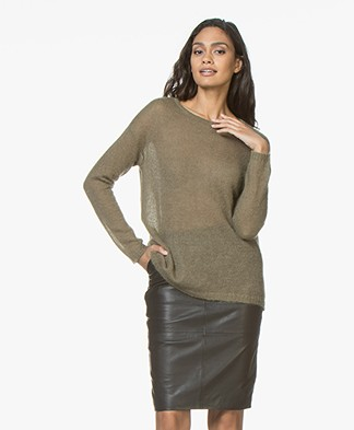 no man's land Loose Knitted Sweater in Mohair Blend - Light Armour