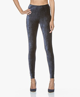 no man's land Velvet Leggings - Dark Sapphire