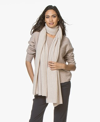 Repeat Cashmere Rib Knitted Scarf - Beige