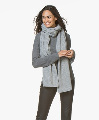 Repeat Cashmere Rib Knitted Scarf -  Light Grey